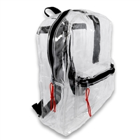 Transparent Security Clear Backpack Sports Events Bag w/ Black Trim