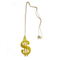 Plastic Party 30'' Chain Dollar Sign Necklace Decor Gold Bling