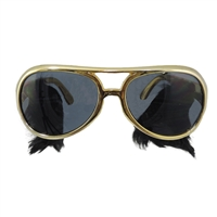 Gold Frame Classic Elvis Costume Sunglasses w/Sideburns