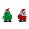 2 Pack Christmas Tree & Santa Wind Up Walking Novelty Gift Stocking Stuffer
