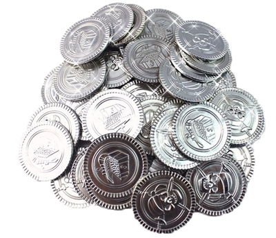 Silver Plastic Novelty Pirate Fake Coins Doubloons