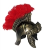 Roman Trojan Warrior Spartan Soldier Plastic Costume Helmet with Red Feather Crest