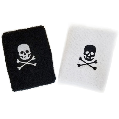 Set Of 2 Adult Pirate Terrycloth Wristbands Sweatbands