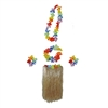 Costume Set Hawaiian Grass Skirt With Flower Lei, Headband & Wristlets