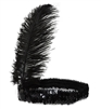 Roaring 20's Black Sequined Showgirl Flapper Headband with Feather