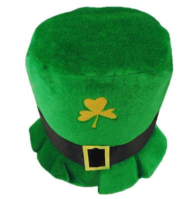 Adult Plush Leprechaun Green St. Patrick's Day Top Hat w/ Buckle Accent