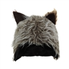 Novelty Furry Wolf Ear Hat Grey, Brown