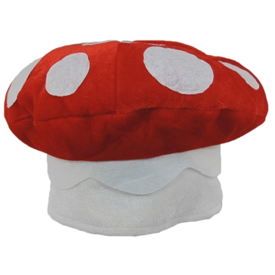Red & White Spotted Mushroom Plush Novelty Hat