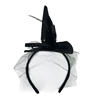 Black Mini Witch Hat Headband With Feathers Faux Pearls & Attached Veil