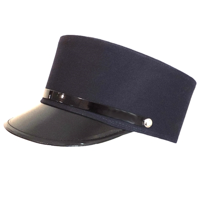 Navy Blue Engineer Train Conductor Hat Cap With Black Vinyl Brim