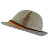 Light Grey Felt Alpine Oktoberfest German Bavarian Costume Hat w/ Feather