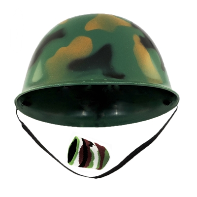 Childs Green Army Soldier Combat Costume Helmet With One Camo Wristband Set