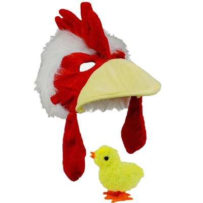 Chicken Rooster Plush Costume Hat With Wind Up Baby Chick