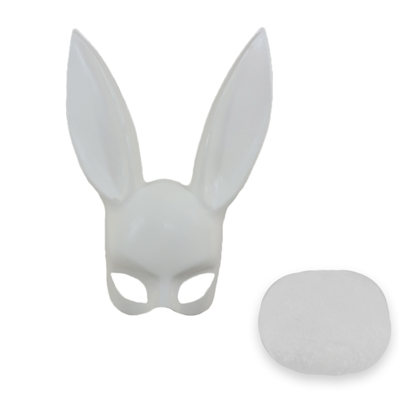 Adult Deluxe Sexy White Bunny Half Mask With White Tail Set