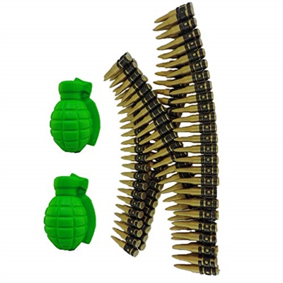 Gold & Black Plastic Costume Bullet Belt Bandolier With Two Foam Grenades