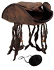 Distressed Brown Caribbean Pirate Costume Tri-Corn Hat Adult with Dreadlocks & Eye Patch