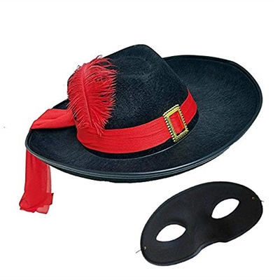 Black Three Musketeers Hat with Zolo Eye Mask Costume Set