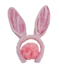 Hot Pink Plush Bunny Ears Headband & Fuzzy Tail Costume Set