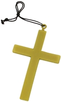 Plastic Religious Gold Cross Costume Necklace